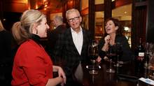 Former Conservative minister Monte Solberg (C) chats with Kathleen Olson (L) and Louise Girouard during Hy's farewell party February 24, 2016 in Ottawa. (Dave Chan for The Globe and Mail)