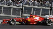 Ferrari driver Fernando Alonso of Spain steers his car during the Formula One U.S. Grand Prix auto race at the Circuit of the Americas Sunday, Nov. 18, 2012, in Austin, Texas. (Luca Bruno/AP Photo)