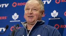Toronto Maple Leafs head coach Randy Carlyle speaks to the media as the Leafs start their training camp ahead of the new NHL season, Sunday, January 13, 2013. (Chris Young/THE CANADIAN PRESS)