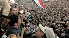 Google Inc executive Wael Ghonim addresses a mass crowd inside Tahrir Square in Cairo February 8, 2011. (Dylan Martinez/Reuters/Dylan Martinez/Reuters)