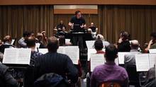 Conductor Johannes Debus leads the Canadian Opera Company orchestra during a rehearsal on Jan. 16, 2015. (Fred Lum/The Globe and Mail)