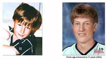 Michael Dunahee, missing since March 24, 1991, shown at age 4 and how he may have looked at 17. (Globe files/Globe files)
