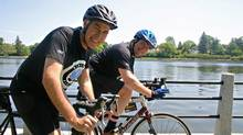 Claude Des Rosiers (left) and Robert Merkley (right). Claude Des Rosiers and Robert Merkley in Ottawa who launched Ride the Rideau, a fundraiser for Ottawa Hospital which involves a 100-kilometre bike ride. The event has raised more than $5-million since it started three years ago.
