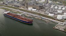 An oil tanker is docked at the Valero Energy Corp. refinery at the Port of Corpus Christi, Texas. (Eddie Seal/Bloomberg)