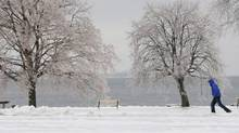 A man walks in a park in Kingston, Ont., on Dec. 21, 2013. A major freezing rain weather front is moving through Eastern Canada. (Lars Hagberg/The Canadian Press)
