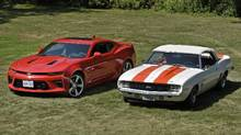 Driving first-generation and sixth-gen Camaros on the same day represents both singular, yet different moments. A 2016 (2017 ?) Camaro (LEFT) parked beside Scott Sinclair's 1959 Camaro (Z1 designation in engine compartment means it was an official Indy pace car), is photographed on August 30 2016. the 50th anniversary for the popular Chevrolet sports car approaches. (Fred Lum/The Globe and Mail) (Fred Lum/The Globe and Mail)