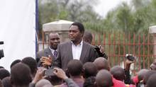 Zambian opposition leader Hakainde Hichilema has been arrested on charges of treason after his convoy refused to let President Edgar Lungu's motorcade pass it on a narrow road. (Tsvangirayi Mukwazhi)