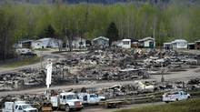 The Ptarmigan Court trailer park is seen during a media tour in Fort McMurray, Alberta. (Jonathan Hayward/Bloomberg)