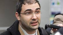Dimitri Soudas answers questions in Riviere-du-Loup, Que. on April 20, 2011. (Frank Gunn/THE CANADIAN PRESS)