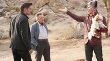 "Collin Farrell, left, Christopher Walken and Sam Rockwell in a scene from ""Seven Psychopaths"""
