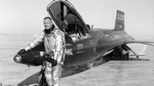 An undated NASA handout photo of Neil Armstrong with an X-15 aircraft at the Dryden Flight Research Center in California. (NASA/NYT)