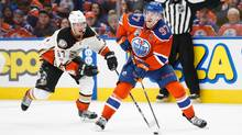 Edmonton Oilers' Connor McDavid is chased by Rickard Rakell of the Anaheim Ducks during Game 4 of their second-round playoff series in Edmonton on Wednesday, May 3, 2017. (Codie McLachlan/Getty Images)