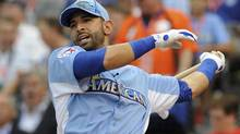 American League All-Star Jose Bautista of the Toronto Blue Jays hits during the Major League Baseball All-Star Game Home Run Derby in Kansas City, Missouri, July 9, 2012. (Dave Kaup/Reuters)