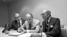 Bud McDougald was the master strategist of the Canadian Establishment. Pictured here at the height of his powers, he meets with the Dominion Stores' executive team, Thomas G. Bolton (left) and Thomas G. McCormack (right)