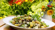 Use larger cremini mushrooms when making this Potato, mushroom, mussel salad. (Tim Fraser for The Globe and Mail)