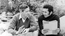 George Kaczender, right, talks with Don't Let the Angels Fall star Arthur Hill on location in Vaudreuil, near Montreal. (National Film Board of Canada)