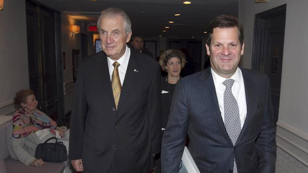 Bombardier Inc.'s Pierre Beaudoin, executive chairman of the board, and his father Laurent Beaudoin arrive for the company's annual general meeting in Montreal, May 7, 2015.