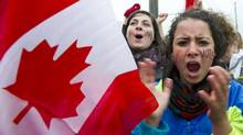 Students at the University of Guelph rallied to remind Stephen Harper that, despite a campaign to lure seniors, they intend to vote, too. (Sean Kilpatrick/The Canadian Press/Sean Kilpatrick/The Canadian Press)
