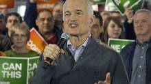 NDP Leader Jack Layton addresses the crowd at a campaign rally in Edmonton on April 27, 2011. (Andrew Vaughan/THE CANADIAN PRESS)