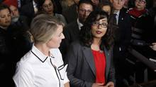 Heritage Minister Mélanie Joly (left) and Liberal MP Iqra Khalid announce M-103 on Parliament Hill on Feb. 15. (PATRICK DOYLE/THE CANADIAN PRESS)