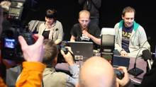 Files picture of Gottfrid Svartholm Varg (C) and Peter Sundin, (R) from The Pirate Bay, an online piracy site meeting the press in Stockholm, Sweden on February 15, 2009, to give their views prior on the eve of their trial. (FREDRIK PERSSON)