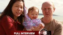 """In this image taken from video supplied Sunday, Aug. 10, 2014 by Channel 9's """"60 Minutes"""", David Farnell, right, his wife Wendy, left, pose with baby Pipah in Australia. The Australian couple, David and his wife Wendy Farnell, has denied that they abandoned their son born with Down syndrome to a Thai surrogate. The couple said in the interview that the boy's surrogate mother, Pattaramon Chanbua, insisted she be allowed to keep the boy and that she threatened to also keep his twin sister Pipah. (AP Photo/Channel 9 60 Minutes)"""