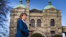 Christy Clark, seen during a press conference at the B.C. Legislature on Feb. 9, is given between $30,000 and $50,000 a year from the BC Liberal Party, The Globe and Mail has learned. (John Lehmann/The Globe and Mail)