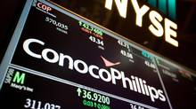 The ConocoPhillips logo on the floor of the New York Stock Exchange. (Michael Nagle/Bloomberg)