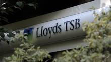 A Lloyds Banking Group sign is pictured outside a branch of the bank in central London, on June 30, 2011. (Carl Court/AFP/Getty Images/Carl Court/AFP/Getty Images)
