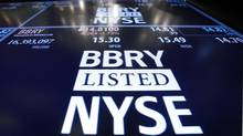 The Blackberry ticker is displayed on a screen at the post that trades the stock on the floor of the New York Stock Exchange in this Feb. 15, 2013 file photo. Even if RIM changes its name to BlackBerry – shareholders will vote on the makeover at next week's annual meeting – the company is still set in its old ways. (BRENDAN MCDERMID/REUTERS)