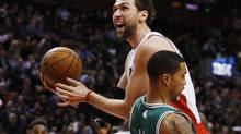 Andrea Bargnani of the Raptors goes up for a shot against Courtney Lee of the Celtics during their game at the aCC in Toronto on Wednesday night. Bargnani hasn't played in many months. (MARK BLINCH/REUTERS)