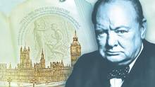 "A computer-generated file image provided by the Bank of England on April 26, 2013, showing the concept design for the reverse of the new 5-pound note, with a picture of former British Prime Minister Winston Churchill. The Bank of England's chief has hinted that Jane Austen could become the new face of Britain's 10-pound note. The bank's outgoing governor, Mervyn King, told lawmakers Tuesday, June 25, 2013, that the ""Pride and Prejudice"" novelist is the leading candidate to replace Charles Darwin on the banknote. King's comments came after the bank earlier announced it will replace social reformer Elizabeth Fry with Winston Churchill on the 5-pound note, a move that prompted outcries that no woman except Queen Elizabeth II would be represented on Bank of England bills. (Uncredited/AP)"