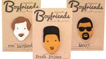 Hannah Browne has helped many clients celebrate loved ones and get over the heartbreak. Her personality-packed felt pins, portraying celebrities like The Fresh Prince, Ron Burgandy and even 'custom' boyfriends, encourage people to wear their hearts on their chests. (Brooch Boyfriends)