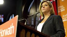 Ontario NDP Leader Andrea Horwath speaks to the media at a news conference at Queen's Park on Toronto on Friday, June 15, 2012 (Chris Young/The Canadian Press)