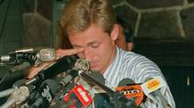 Edmonton Oilers superstar Wayne Gretzky couldn't hold back the tears during a press conference to announce his being traded to the Los Angeles Kings. The announcement was made in Edmonton, Aug. 9, 1988. (RAY GIGUERE/THE CANADIAN PRESS)
