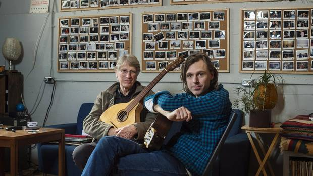 Musicians Joel Plaskett, right, and his father Bill pose in Plaskett's recording studio The New Scotland Yard in Halifax on Tuesday, January 17, 2017.