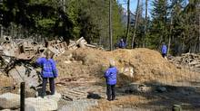 B.C. SPCA officers attend the site of an apparent mass grave where sled dogs were buried. (SPCA photo)