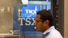 The Toronto Stock Exchange Broadcast Centre is shown in Toronto on June 28, 2013. THE CANADIAN PRESS/Aaron Vincent Elkaim