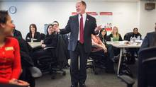 CIBC's John Silverthorn with staff at a training session: it's not fringe perk. (JENNIFER ROBERTS FOR THE GLOBE AND MAIL)