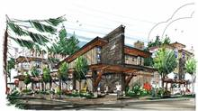 Rendering of Mill House, part of the redevelopment of the Lynn Valley United Church property by Marcon Developments.