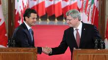 Prime Minister Stephen Harper (right) shakes hands with with Mexican president-elect Enrique Pena Nieto on Parliament Hill in Ottawa on Wednesday, November 28, 2012. (FRED CHARTRAND/THE CANADIAN PRESS)