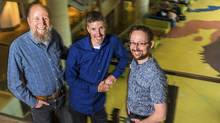 From left, University of Alberta professors Richard Sutton, Michael Bowling and Patrick Pilarski are working with DeepMind to open the AI powerhouse company's first research lab outside the United Kingdom in Edmonton. (John Ulan/Globe and Mail Update)