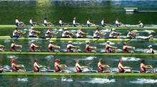 From top: Powerful start of Ukraine, Great Britain, Canada and Poland during the men's Eight Heat 2 race at the World Rowing Cup on Lake Rotsee in Lucerne, Switzerland, Friday, May 25, 2012. (Sigi Tischler/Associated Press)