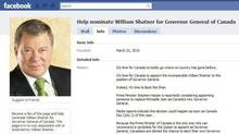 """It's time for Canada to boldly go where no country has gone before."" That phrase leads off a Facebook page calling for Canadian-born actor William Shatner to be named Canada's next Governor General. (THE CANADIAN PRESS)"