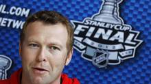 New Jersey Devils goalie Martin Brodeur speaks to reporters during Media Day before Game 1 of their NHL Stanley Cup hockey final against the Los Angeles Kings in Newark, New Jersey May 29, 2012. The Stanley Cup Final will be played on May 30 in Newark. (Mike Segar/Reuters)