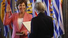 Christy Clark is officially sworn in by Lieutenant Governor Judith Guichon as Premier of British Columbia at Government House in Victoria on June 10, 2013. (Chad Hipolito for The Globe and Mail)