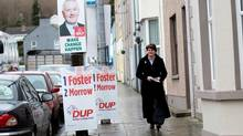 Democratic Unionist Party leader Arlene Foster arrives to cast her vote at a polling station in Brookeborough, Northern Ireland, Thursday, March 2, 2017. Voting has begun Thursday in the British province of Northern Ireland to elect a new Stormont Assembly after the power-sharing government collapsed in January.
