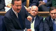 "Britain's Prime Minister David Cameron is seen addressing the House of Commons in this still image taken from video in London August 29, 2013. Cameron said on Thursday it was ""unthinkable"" that Britain would launch military action against Syria to punish and deter it from chemical weapons use if there was strong opposition at the United Nations Security Council. (POOL/Reuters)"