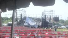 The collapsed Radiohead stage at Downsview Park, Toronto, June 16, 2012. (@katecardy/via Twitter)