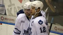 Toronto Marlies' Nazem Kadri, right, celebrates his third period goal against the Abbotsford Heat along with teammate Ryan Hamilton during American Hockey League playoff action at Ricoh Coliseum in Toronto, Ont. Thursday, May 3/2012. (Kevin Van Paassen/The Globe and Mail/Kevin Van Paassen/The Globe and Mail)